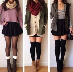 This is the perfect winter outfit! 3 easy and warm ways to rock a circle skater skirt! Combat boots, thigh highs, and open jackets are the perfect ways to kill this fab winter style!