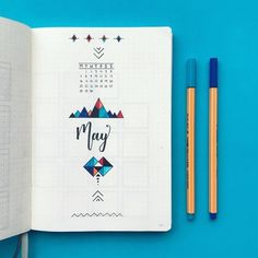 Bullet journal monthly cover page, May cover page, hand lettering, geometric pattern drawing. Bullet Journal Vidéo, Bullet Journal Cover Ideas, Bullet Journal Monthly Spread, Bullet Journal Printables, Bullet Journal Themes, Bullet Journal Layout, Journal Covers, Bullet Journal Inspiration, Journal Ideas