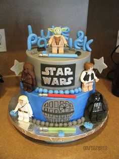 lego star wars cake, she sent me a cake and told me thats what she wanted....i am assuming she got it on here somewhere......so, thanks cake centrall!!  buttercream covered cake w/ fondant/gumpaste figures.....my first time making figures, i was very nervous, so im glad they turned out well!!  :))