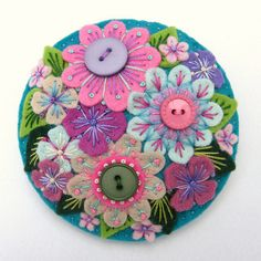 FELT ABUNDANCE BROOCH WITH FREEFORM EMBROIDERY by APPLIQUE-designedbyjane, via Flickr    felt, flower, embroidery, DIY