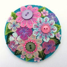 FELT ABUNDANCE BROOCH WITH FREEFORM EMBROIDERY by APPLIQUE-designedbyjane, via Flickr    felt, flower, embroidery, DIY