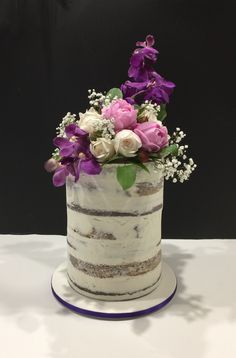 Naked cake with fresh flowers Birthday Cake With Flowers, Birthday Cakes, Fresh Flower Cake, Fresh Flowers, Cake Decorating, Naked, Birthday Cake, Happy Birthday Cakes