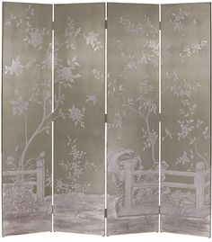 folding screens - hand-painted with birds and flowers folding screen