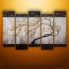 CUSTOM PAINTING Abstract Modern Asian Zen Blossom Tree Landscape Painting Original Art by Gabriela 50x30