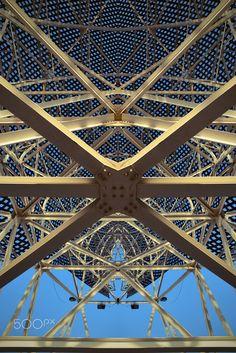 "inner detail - inner detail of steel work on frank gehry's ""peix olimpico"" made for 92 summer olympic games in barcelona"
