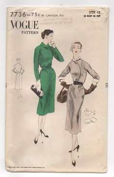 1950's Vogue One Piece Dress with Circular Cross Front
