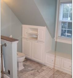 5 Masterful Simple Ideas: Attic Staircase Built Ins attic conversion modern.Attic Staircase Built Ins slanted attic closet. Sloped Ceiling Bathroom, Loft Bathroom, Upstairs Bathrooms, Bathroom Storage, Bathroom Ideas, Attic Storage, Bathroom Layout, Small Attic Bathroom, Eaves Storage