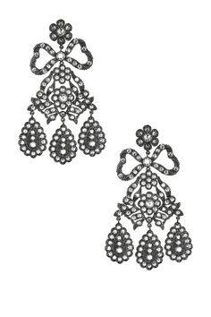 CZ by Kenneth Jay Lane Clear & Black CZ Bow Rose Cut Girondelle Earrings