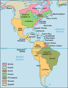 This map shows European colonies in the Americas around 1763.