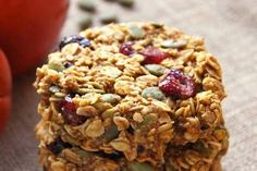Pumpkin Breakfast Cookies - healthy make-ahead breakfast in the form of convenient and delicious oat cookies with pumpkin, cranberries and pepitas. They are gluten-free and refined sugar free. Pumpkin Breakfast Cookies, Breakfast Cookie Recipe, Pumpkin Cookie Recipe, Oat Cookies, Healthy Cookies, Cookies Et Biscuits, Breakfast Recipes, Pumpkin Cookies, Free Breakfast