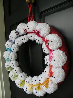 """18"""" Pom pom Snowman Winter Wreath"""