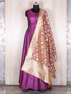 Purple Silk Solid Anarkali Suit