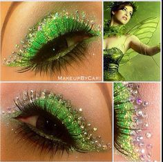 Gorgeous Makeup: Tips and Tricks With Eye Makeup and Eyeshadow – Makeup Design Ideas Eye Makeup Cut Crease, Skin Makeup, Makeup Art, Tinkerbell Makeup, Disney Makeup, Green Eyeshadow, Makeup For Green Eyes, Green Eyeliner, Eyeliner Brush