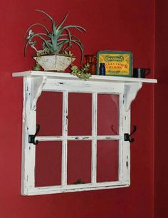 20 Super Easy DIY Ideas For Creating Amazing Shelves this old window frame topped by a shelf would be great to frame a quilt scrap or black and white family photos Antique Windows, Vintage Windows, Rustic Windows, Wood Windows, Decorative Windows, Barn Windows, Patio Windows, Reclaimed Windows, Recycled Windows