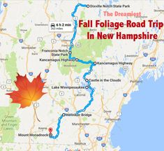Our journey starts way up north, and takes us all the way down to the Massachusetts border. East Coast Travel, East Coast Road Trip, New England Fall, New England Travel, Road Trip Map, Road Trips, Field Trips, Beach Trip, Hawaii Beach