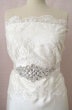 Beaded Bridal Wedding Rhinestones Sash Belt with  by gebridal, $45.00