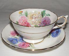 Vtg PARAGON ENGLISH BONE CHINA TEA CUP & SAUCER SET ROSE BLUE PEONY FLOWERS MINT