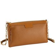 Saddle Cross-Body Bag   Pebble Grain Leather   GiGi New York