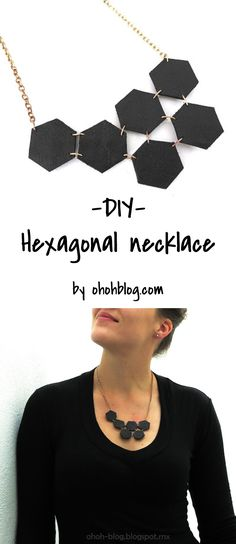 Make a modern hexagon necklace with leather. DIY jewelry - DIY necklace