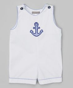 This White & Blue Anchor Shortalls - Infant by Les Petits Soleils by Fantaisie Kids is perfect! #zulilyfinds
