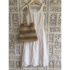 🌿V🌿 Vintage linen midi dress Crisp and airy linen dress bought in Italy. Size is a EU 34 and equates to a US xs. Side zip entry with crossover front. Perfect for summer. Vintage Dresses