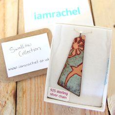 One off ENAMEL NECKLACE Turquoise 'Swallow' glass by iamrachelshop, £12.00