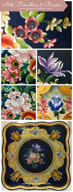 Olá pessoal,    Neste post mostro para vocês uma combinação que eu acho perfeita: Arte Fiorentina e Bauernmalerei. As imagens são de um trab...