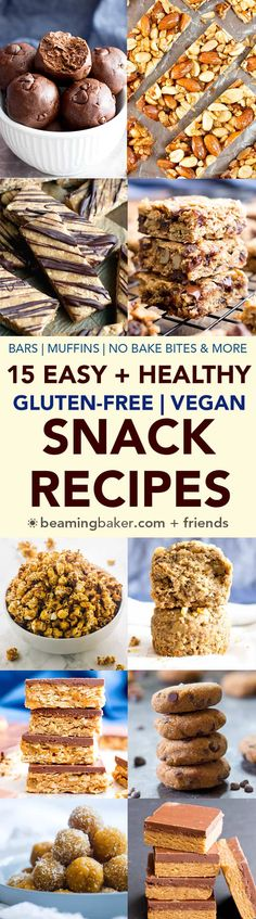 15 Easy Healthy Gluten Free Vegan Snack Recipes (V, GF): a yummy collection of easy 'n healthy plant-based snacks to help you get fueled! #Vegan #GlutenFree #DairyFree #ProteinRich | BeamingBaker.com