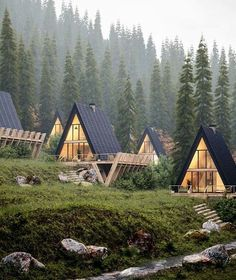 Another cabin in the woods visualization project work by Ideal Arch Visuals. This is a CGI imagery of 5 cabin/single-family houses in a foggy forest, into the mountains. The placement of these houses A Frame Cabin, A Frame House, Tiny House Cabin, Cabin Homes, Tiny Homes, Triangle House, Cabin In The Woods, Forest House, Forest Cabin
