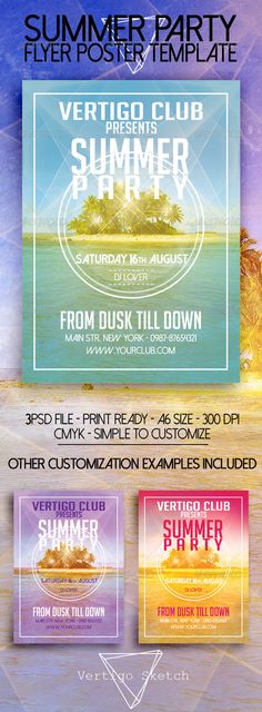Buy Summer Party by Vertigosketch on GraphicRiver. This flyer was designed to promote an Alternative / Grunge music event, such as a gig, concert, festival, party or we. From Dusk Till Down, Flyer Printing, Travel Brochure, Party Flyer, Summer Parties, Print Templates, Flyer Template, Night Club, Flyer Design