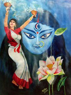 Ratan Dutta paintings Indian women performing Dhunuchi Dance / Nach to God Ma Durga / Kali