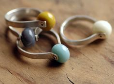 Sterling Silver Ring and Handmade Glass Bead - Orb Spinner Ring (Single Ring). $40.00, via Etsy.