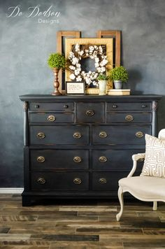 Black Painted Furniture- Tips For An Effortless Distressed Dresser Black Painted Furniture, Colorful Furniture, Paint Furniture, Furniture Projects, Furniture Makeover, Cool Furniture, Furniture Design, Dresser Furniture, Bedroom Furniture