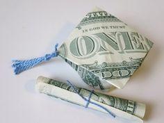 DIY How to Fold $2 Money Origami Graduation Cap & Diploma - Dollar Origami Graduation Gift Idea - YouTube