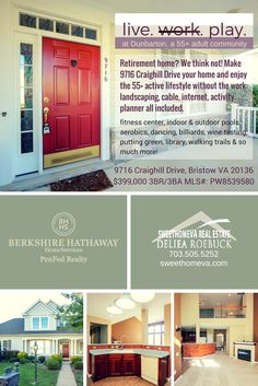 sweethomeva.com lists lovely Bristow VA home for sale ~ $399,000. 55+ active adult (dunbarton) has activities, amenities, no maintenance lawns and more. See HD Video and High Res photos NOW!