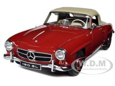 Mercedes 190 SL Red 1/18 Diecast Car Model by Autoart