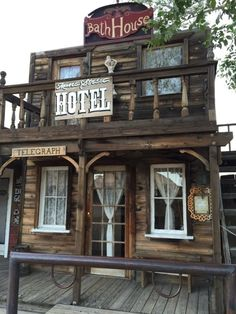 Along Mane Street you'll find many of the original buildings, like this old hotel, that were all part of the movie set that was created in Old Buildings, Abandoned Buildings, Abandoned Places, Old West Town, Old Town, Play Houses, Bird Houses, Old Western Towns, Westerns