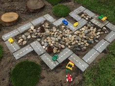 DIY Outdoor Play Areas for Kids - Faithful Provisions Outdoor Play Spaces, Kids Outdoor Play, Kids Play Area, Outdoor Learning, Backyard For Kids, Diy For Kids, Backyard Ideas, Outdoor Car Track For Kids, Garden Ideas