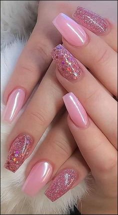 8 Fantastic Pink Nail Designs Glitter Color Combos 2019 : Have a look! Nails 8 Fantastic Pink Nail Designs Glitter Color Combos 2019 : Have a look! Nail Design Glitter, Glitter Nail Art, Nails Design, Acrylic Nails For Summer Glitter, Purple Glitter, Pink Acrylic Nails, Pink Nail Polish, Nail Nail, Top Nail