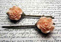 Floral Bobby Pin Set  Faded Peach Roses on by PixieBoneJewelry, $10.00