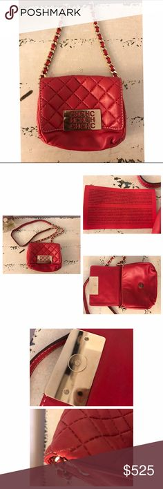 """Carolina Herrera Red LambSkin Chained Handbag * Lamb Skin Leather * Information Card * Small show of wear on the back * Gold Metal Closure * 42"""" Chain Strap * Minor smudging on gold Button closure  * In great condition * 7""""W  * 6""""H Carolina Herrera Bags Crossbody Bags"""