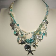 Beadwork Freeform Necklace Earrings Aqua by StoneDesignsbySheila, $359.00