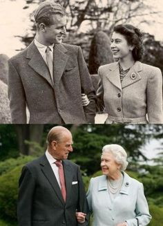 Queen Elizabeth II and Prince Phillip. The first picture is taken in the Broadlands the day after their wedding, the second is taken in the same location 60 years later