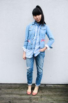 Romance was Born denim jacket, Monki shirt, J Brand jeans, ASOS shoes