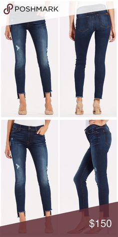 """{ 7 For All Mankind } Ankle Skinny w Step Hem Super trendy step hem and a gorgeous dark wash, these 7 For All Mankind skinny jeans are so flattering. They are a closet staple that will pair well with everything.  Worn once   c o n t e n t 68% cotton 