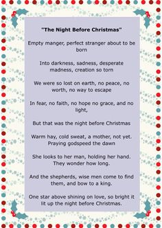 "December 5, 2015 of Jesus Birthday Celebration! Some of the lyrics of ""The Night Before Christmas"" by Brandon Heath"
