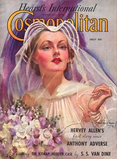 1930s Cosmopolitan magazine cover with a bride. #purple