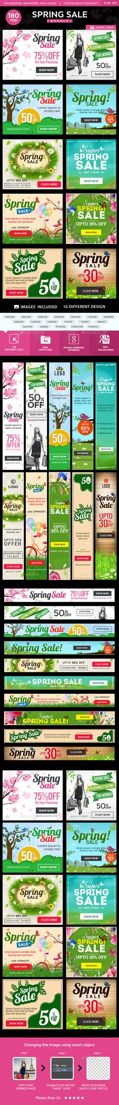 Spring Sale Web Banners Bundle - 10 Sets Design Templates PSD. Download here: http://graphicriver.net/item/spring-sale-banners-bundle-10-sets/15434442?ref=ksioks
