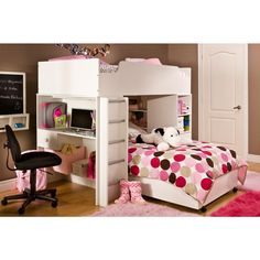 Girls loft bed with desk simple girl loft bed desk furniture girls Cheap Bunk Beds, Bunk Beds Small Room, Bunk Bed Sets, Girls Bunk Beds, White Bunk Beds, Bunk Beds With Drawers, Loft Bunk Beds, Bunk Bed With Desk, Modern Bunk Beds