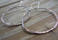 Large Copper Hoops Rustic Copper Earrings by TheShedStudios, $20.00